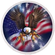 Eagle Burst Round Beach Towel