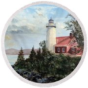 Eagle Harbor Light Round Beach Towel by Lee Piper