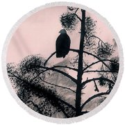Round Beach Towel featuring the drawing Eagle In Pink Sky by D Hackett