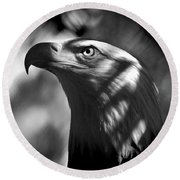 Eagle In Shadows Round Beach Towel by Robert Frederick