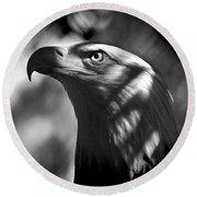 Eagle In Shadows Round Beach Towel