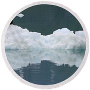 Eagle On Ice Round Beach Towel by Shoal Hollingsworth