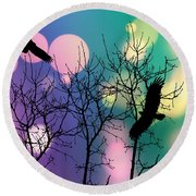 Round Beach Towel featuring the digital art Eagle Rebirth Light by Kim Prowse