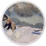 Eagles And Rabbit, 1922 Round Beach Towel by Bruno Andreas Liljefors