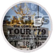 Eagles The Long Run Tour Round Beach Towel