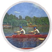 Eakins' The Biglin Brothers Racing Round Beach Towel by Cora Wandel