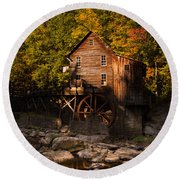 Early Autumn At Glade Creek Grist Mill Round Beach Towel
