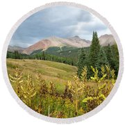 Early Autumn In The San Juans -  Mount Wilson And Wilson Peak Round Beach Towel