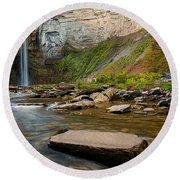 Early Autumn Morning At Taughannock Falls Round Beach Towel