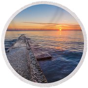 Early Breakwater Sunrise Round Beach Towel