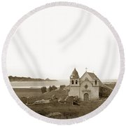 Early Carmel Mission And Point Lobos California Circa 1884 Round Beach Towel by California Views Mr Pat Hathaway Archives