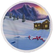 Early Christmas Morn Round Beach Towel