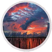 Early Dawns Light Round Beach Towel by Roger Becker