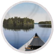 Early Evening Paddle  Round Beach Towel