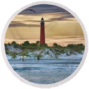 Early Evening Sky Round Beach Towel