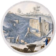 Early Excavations At Herculaneum Round Beach Towel
