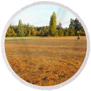 Early Fall Morning In The Rough On The Golf Course Round Beach Towel