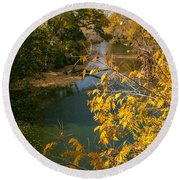 Early Fall On The Navasota Round Beach Towel
