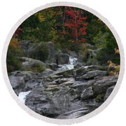 Round Beach Towel featuring the photograph Early Fall Waterfall by Denyse Duhaime
