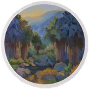 Early Light Indian Canyon Round Beach Towel