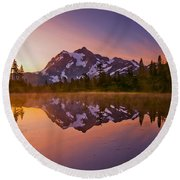 Early Morning At Picture Lake Round Beach Towel