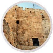 Round Beach Towel featuring the photograph Early Morning At The Jaffa Gate by Doc Braham