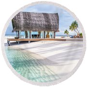 Early Morning At The Maldivian Resort 1 Round Beach Towel by Jenny Rainbow