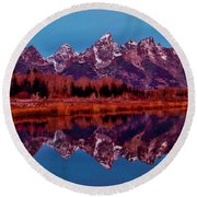 Round Beach Towel featuring the photograph Early Morning At The Tetons by Benjamin Yeager