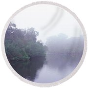 Early Morning Fog On A Creek, South Round Beach Towel