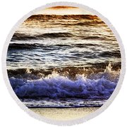 Round Beach Towel featuring the photograph Early Morning Frothy Waves by Amyn Nasser