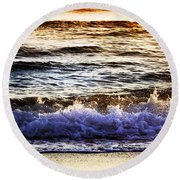 Early Morning Frothy Waves Round Beach Towel