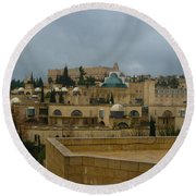 Round Beach Towel featuring the photograph Early Morning In Jerusalem by Doc Braham