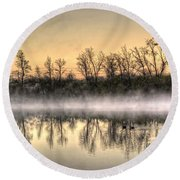 Round Beach Towel featuring the photograph Early Morning Mist by Lynn Geoffroy