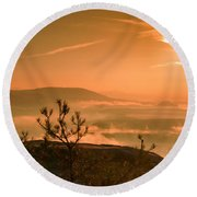 Early Morning On The Lilienstein Round Beach Towel