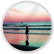 Early Morning Stroll Round Beach Towel by Dan Stone