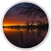 Round Beach Towel featuring the photograph Early Morning Sunrise by Nicholas  Grunas