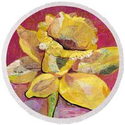Early Spring IIi  Daffodil Series Round Beach Towel