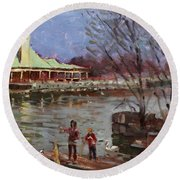 Early Spring In Portcredit Mississauga Round Beach Towel