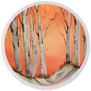 Round Beach Towel featuring the painting Early Winter Aspen by Janice Rae Pariza