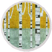 Early Winter Birches Round Beach Towel by Michelle Calkins