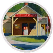 Earlysville Virginia Old Service Station Nostalgia Round Beach Towel