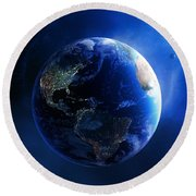 Earth And Galaxy With City Lights Round Beach Towel