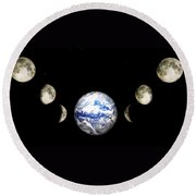 Earth And Phases Of The Moon Round Beach Towel by Bob Orsillo