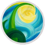 Round Beach Towel featuring the painting Earth And Sky Meet by Ginny Gaura