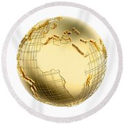 Earth In Gold Metal Isolated - Africa Round Beach Towel