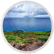 Earth Sea Sky Round Beach Towel
