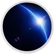 Earth Sunrise With Moon In Space Round Beach Towel