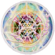 Earth Water Spirit Madonna Peace Matrix Round Beach Towel