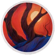 Round Beach Towel featuring the painting Earth  Wind  Fire by Sandi Whetzel