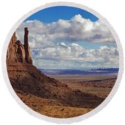 East And West Mittens Round Beach Towel by Jerry Fornarotto